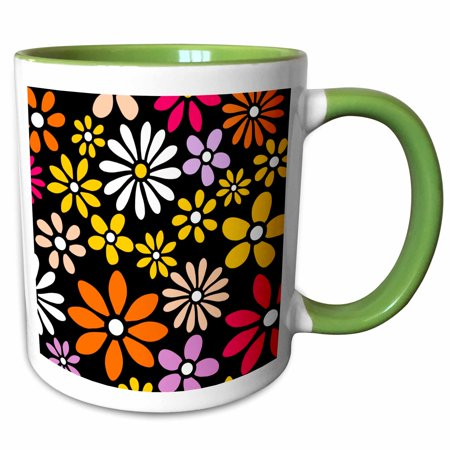 3dRose Retro Flower Pattern - White Yellow and Orange Daisy Flowers on Black - 60s 70s hippy hippie daisies - Two Tone Green Mug, 11-ounce - 60s Flower Child