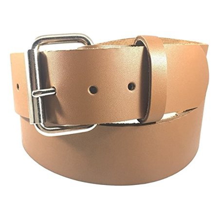 "Dangerous Threads Mens Heavy Duty Light Brown Leather Belt 1 1/2"" Wide"