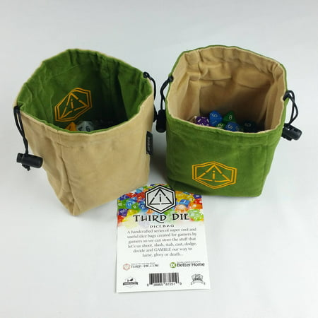 Third Die Dice Bag - Handcrafted, Reversible Drawstring Dice Bag That Stands Open On The Table And Closes Tight - Company Logo Series - Leaf Green and Tan