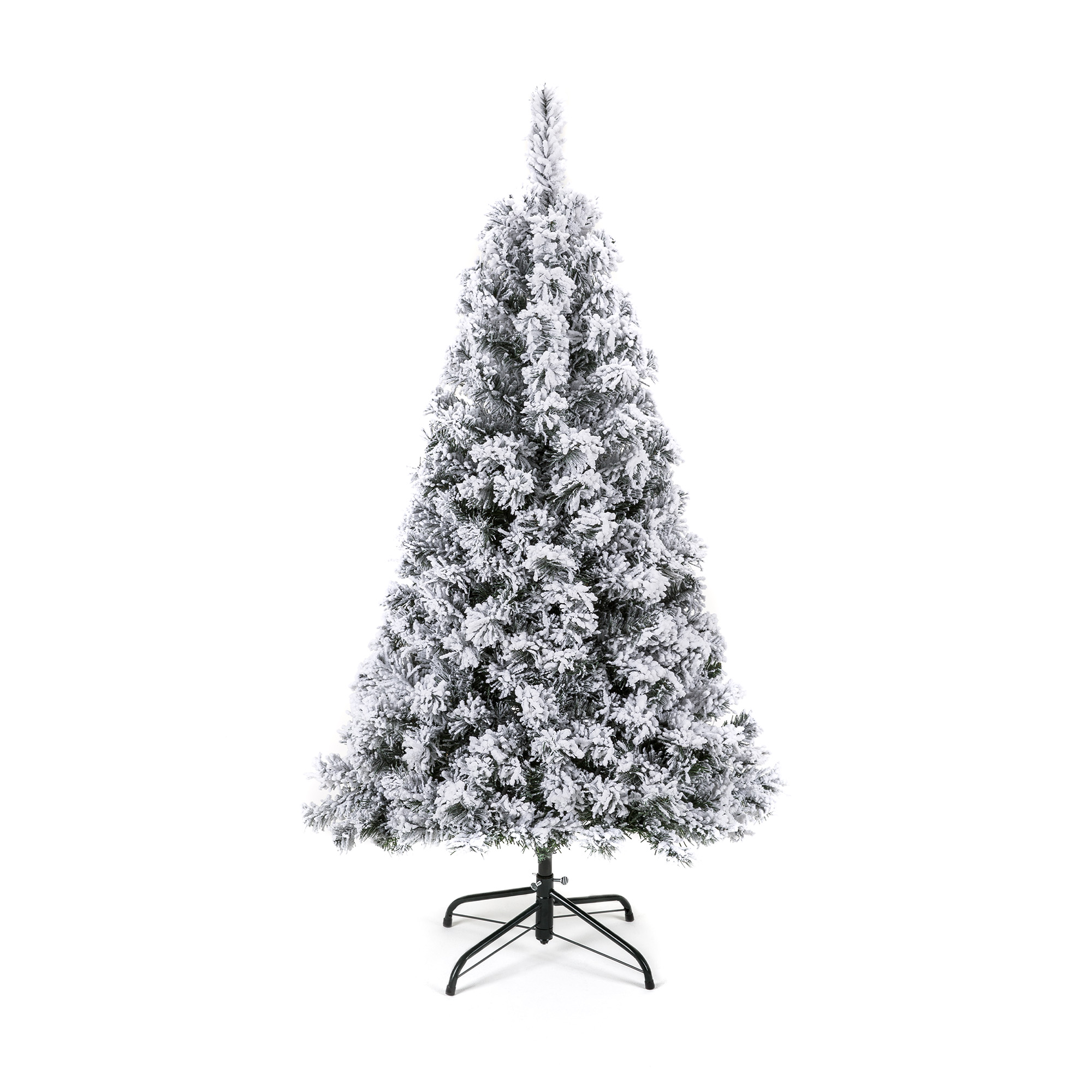 Green Best Choice Products 6 Foot Snow Flocked Artificial Pencil Christmas Tree Holiday Decoration With Metal Stand Home Kitchen Seasonal Decor