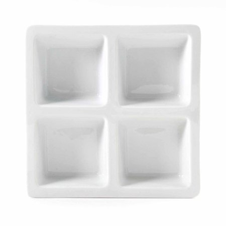 Gibson Studio Bistro Dining 10  4 Section Square Serving Tray  White