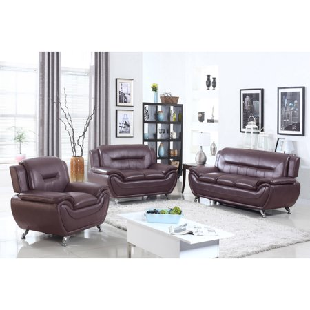 Ufe norton dark brown faux leather 3 piece modern living for Dark brown living room set