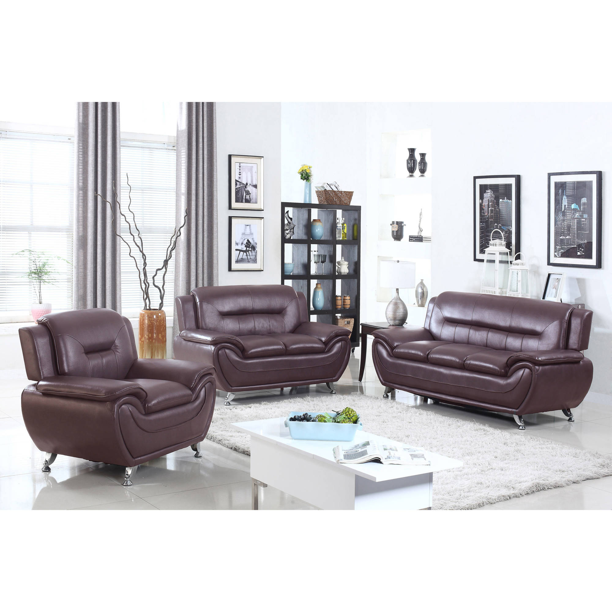 UFE Norton Dark Brown Faux Leather 3 Piece Modern Living Room Sofa Set