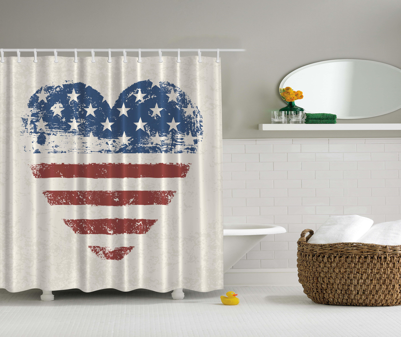 Americana Home Decor Patriotic Usa Flag Heart Stars And Stripes Shower Curtain Walmart Com