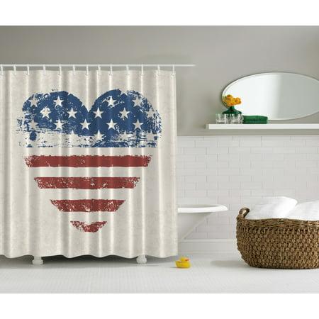 Americana Home Decor Patriotic USA Flag Heart Stars and Stripes Shower - Americana Stripe