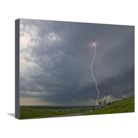 Cloud-To-Ground Lightning Near Strong City, Kansas, USA Stretched Canvas Print Wall Art By Charles (Malls Near Kansas City)