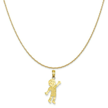 14k Yellow Gold Boy Pendant on a 14K Yellow Gold Rope Chain Necklace, 18