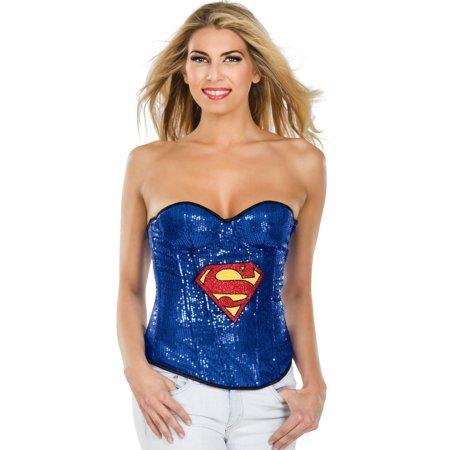 Adult Women's  DC Comics Supergirl Sequin Corset Costume - Sequin Corsets