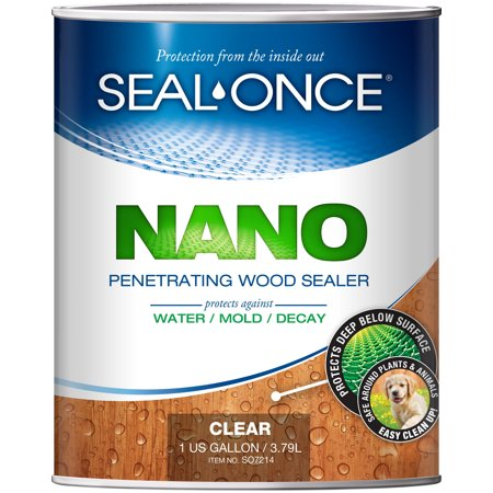 SEAL-ONCE NANO Penetrating Wood Sealer & Stain (1 Gallon). Water-based, Low-VOC waterproofing for fences, siding, beams, outdoor furniture & log homes. ()