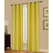 """(#72) 1 Panel Yellow Solid Thermal Foam Lined Blackout Heavy Thick Window Curtain Drapes Bronze Grommets 84"""" Length"""