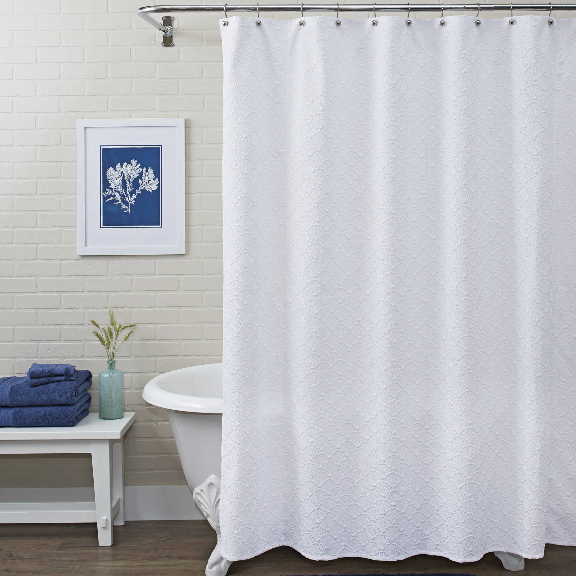 Better Homes and Gardens Shower Curtain, White Shells