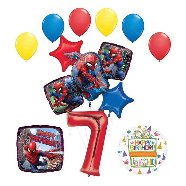 Pleasing The Ultimate Spider Man 7Th Birthday Party Supplies And Balloon Funny Birthday Cards Online Elaedamsfinfo
