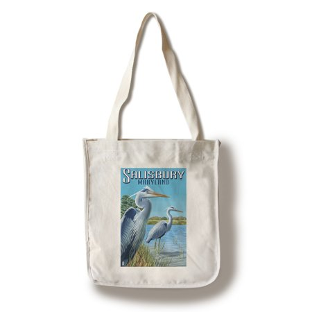 Blue Heron - Salisbury, Maryland - Lantern Press Poster (100% Cotton Tote Bag - Reusable) - Party City Salisbury Maryland