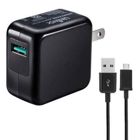 UrbanX 18W Quick Charge 3.0 USB Power Adapter and Micro USB Cable Compatible with Samsung Galaxy S2 Wimax - Black