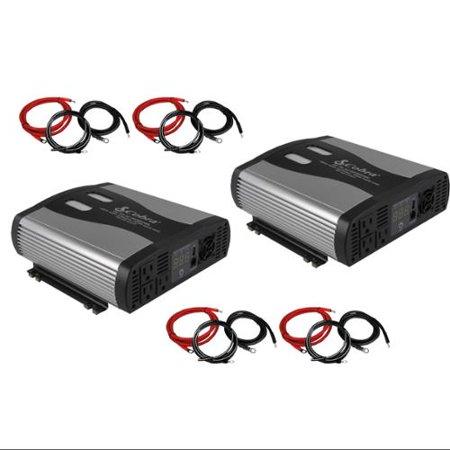 (2) Cobra CPI2575 2500 Watt DC to AC Car Power Inverters w/ (4) 4-AWG Cable Kits