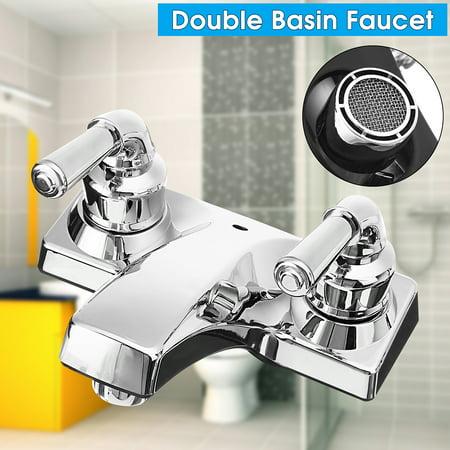 Double Handle Basin Spout Sink Bathroom Faucet 2 Hole Kitchen Cold Hot Mixer Tap ()