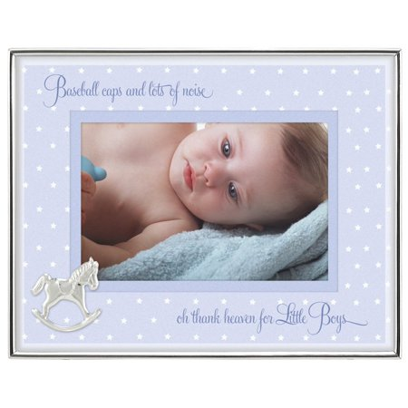 Malden International Designs Baby Sentiments Boy Blue Mat With Silver Horse Attachment Metal Shadowbox Picture Frame, 4x6, Silver ()