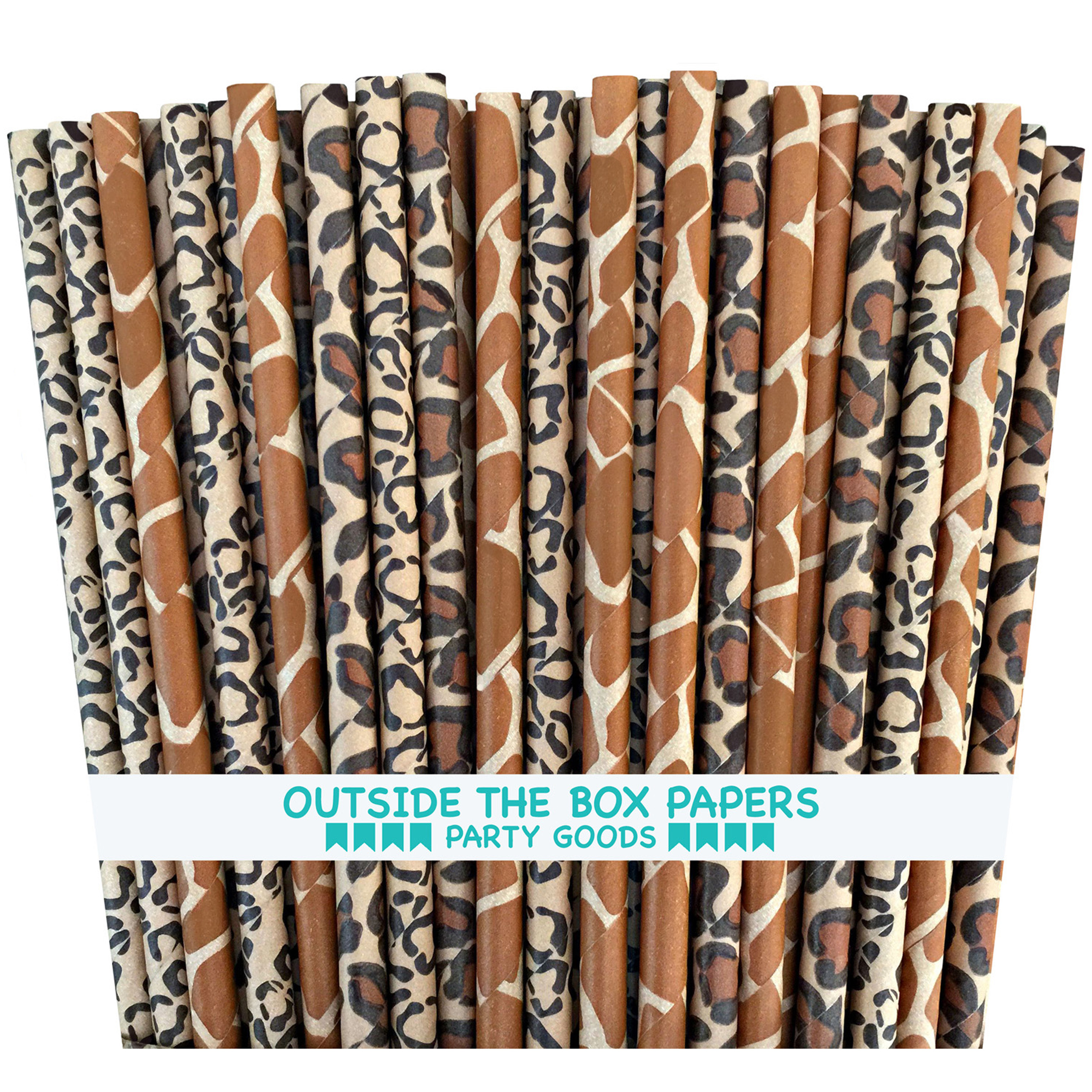 Animal Print Paper Straws- 75 Pack