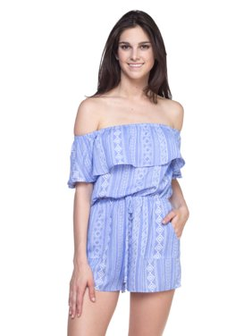 OFASHIONUSA Women's Tribal Print Off The Shoulder Romper