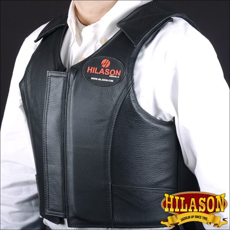 - Hilason Leather Bareback Pro Rodeo Horse Riding Protective Vest - Black
