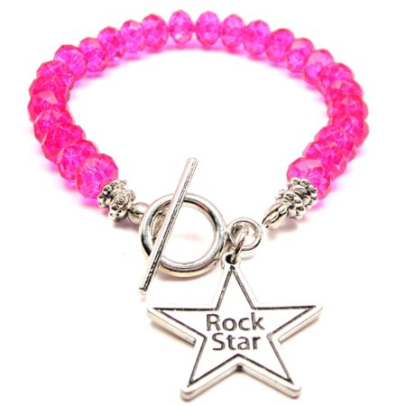 Crystal Star Charm Bracelet - Chubby Chico Charms Rock Star Crystal Toggle Bracelet in Hot Pink