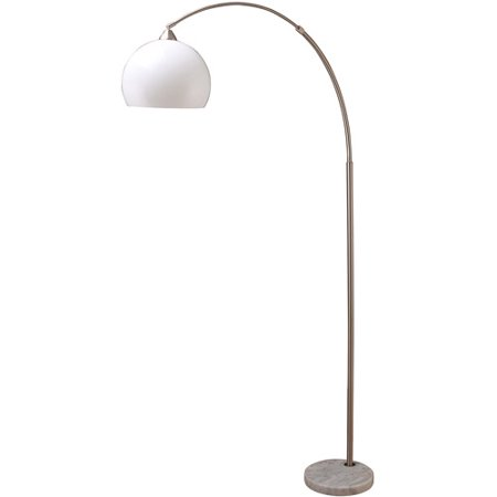 76 modern silver arc floor lamp on white marble base. Black Bedroom Furniture Sets. Home Design Ideas