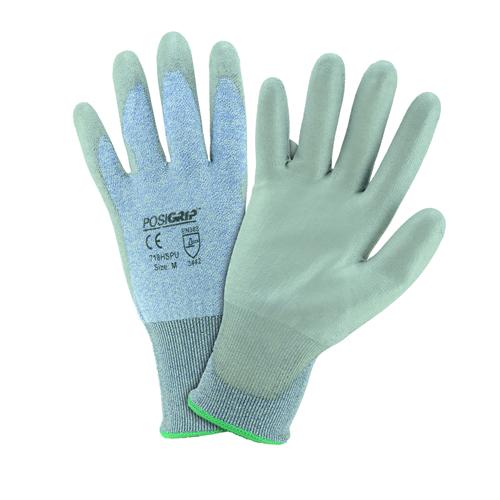 Medium PU Palm Coated Speckle Blue 18 Gauge HPPE Gloves Dozen