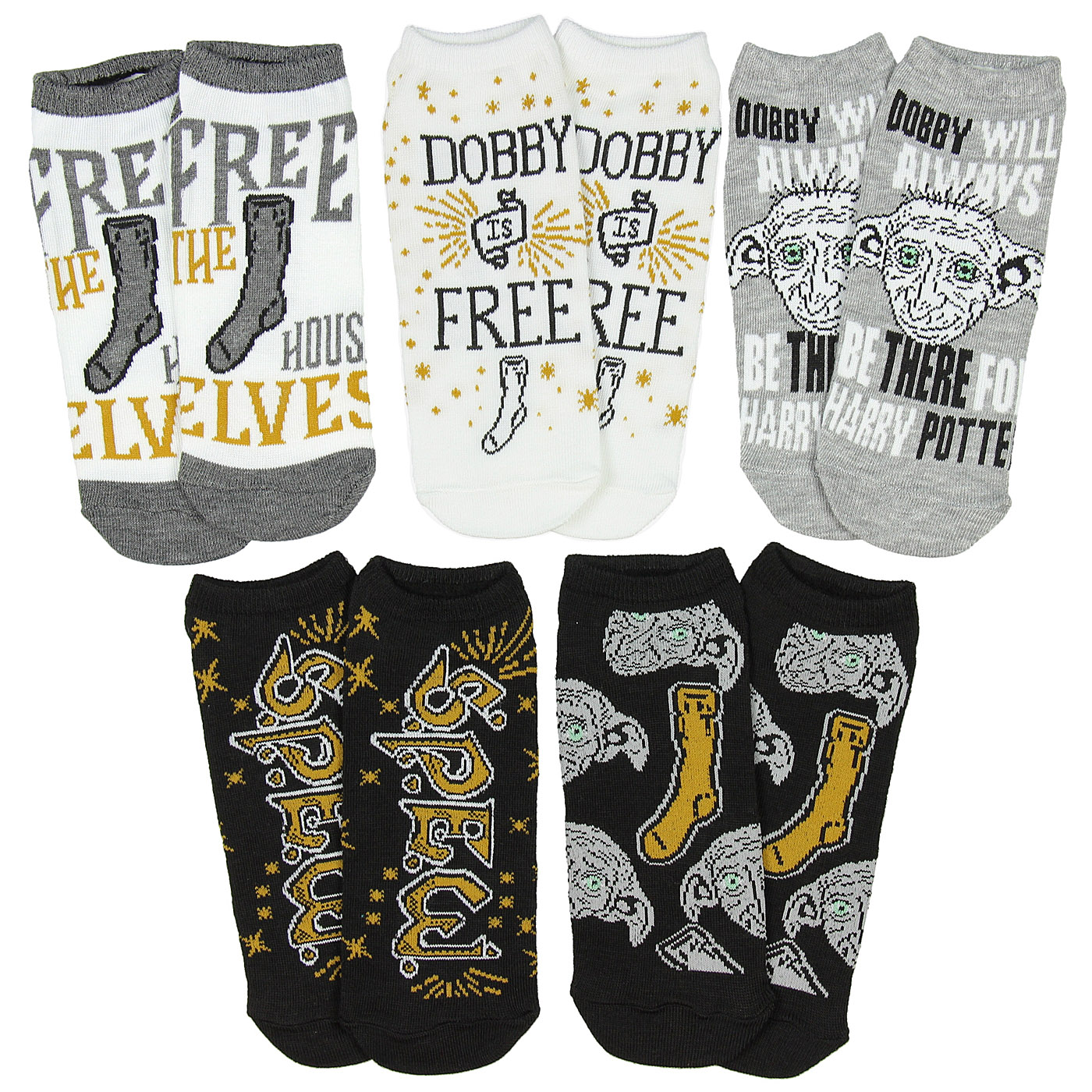 The Wizarding World of Harry Potter Dobby The House Elf No-Show Ankle Socks 5 Pack