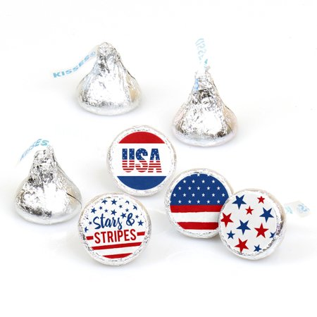 Stars & Stripes - Memorial Day Patriotic Party Round Candy Sticker Favors - Labels Fit Hershey's Kisses (1 sheet of 108) - Memorial Day Party Ideas