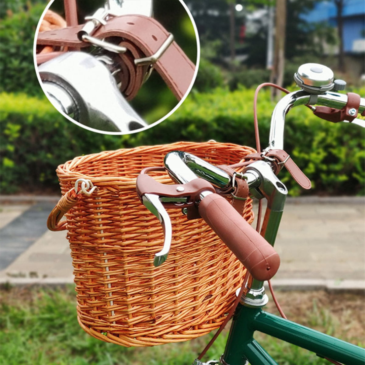 Retro Bike Basket Wicker Woven Bicycle Front Basket Handlebar Storage Basket CA