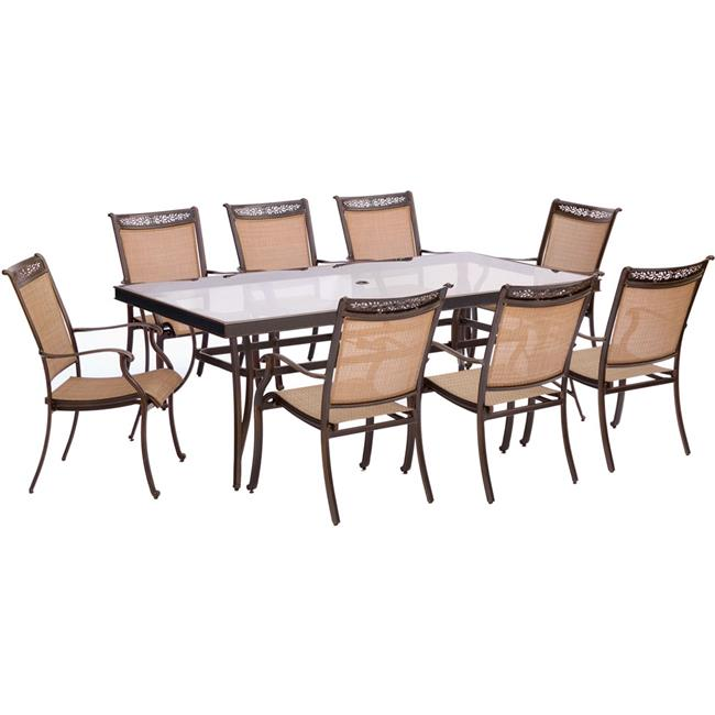 Fontana Dining Set with Sling Dining Chairs, Glass Dining Table - 9 piece
