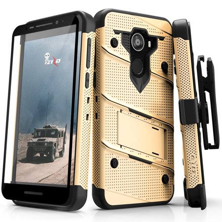 Alcatel A30 Fierce Case, Zizo [Bolt Series] with FREE [Full Glass Alcatel  A30 Screen Protector] Kickstand [12 ft  Military Grade Drop Tested] Holster