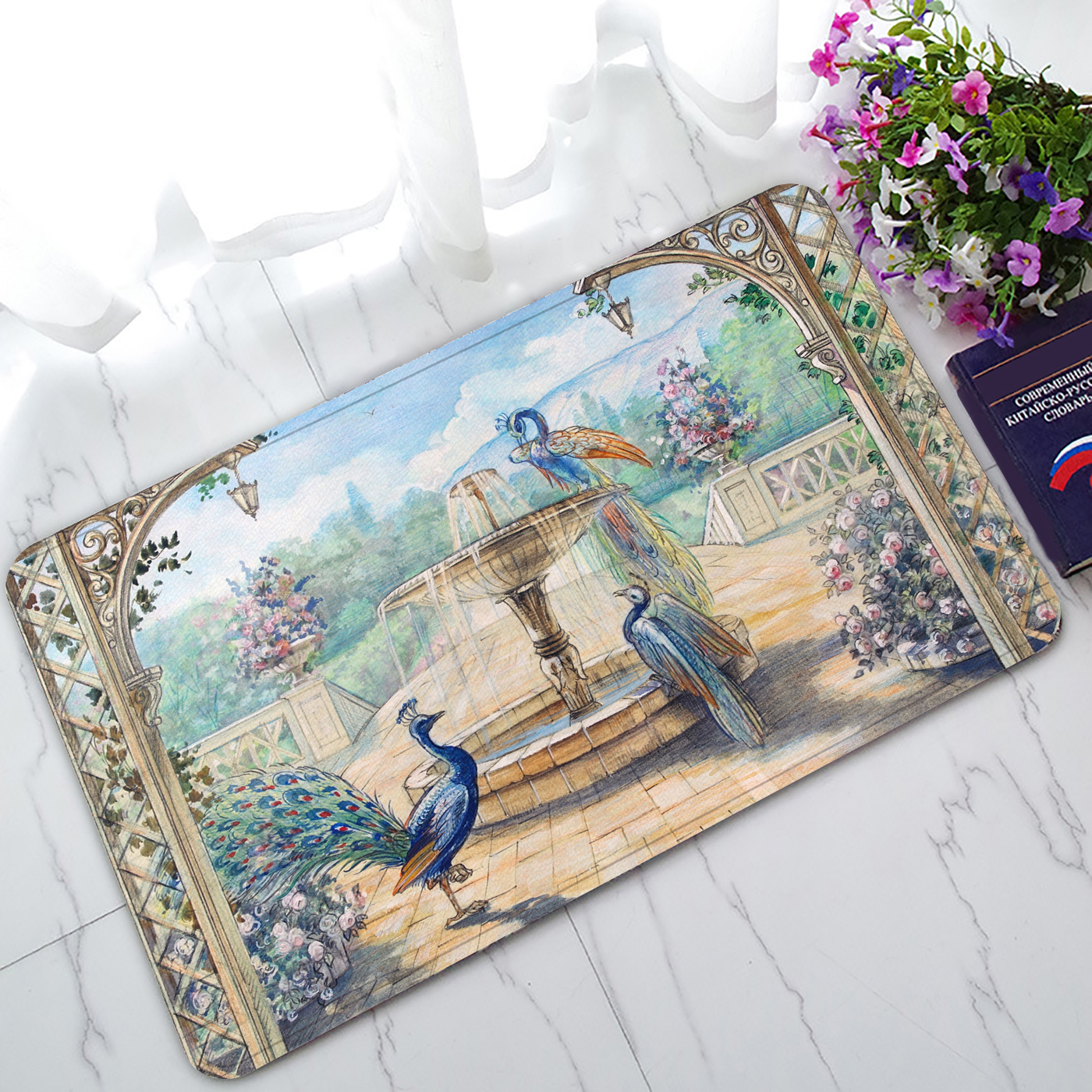 YKCG Floral Watercolor Peacocks in A Spring European Garden with Fountains & Flowers Doormat Indoor/Outdoor/Bathroom Doormat 30x18 inches