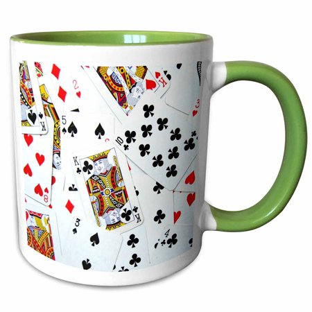 3dRose Scattered playing cards photo - for card game players eg poker bridge games casino las vegas night - Two Tone Green Mug, 11-ounce