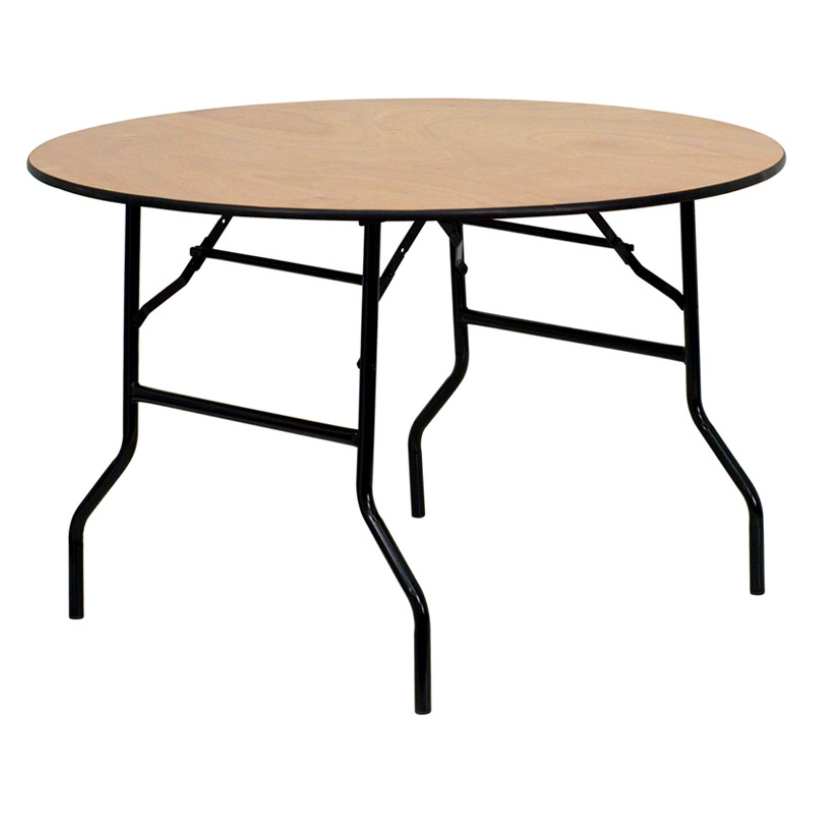 Flash Furniture 48u0027u0027 Round Wood Folding Banquet Table With Clear Coated  Finished Top