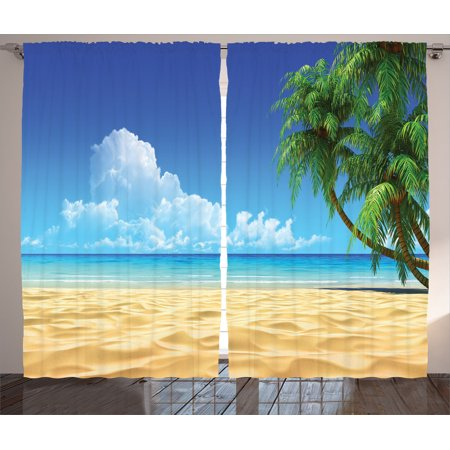 Ocean Decor Curtains 2 Panels Set Palm Tree Leaves On