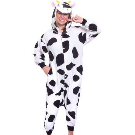 SILVER LILLY Unisex Adult Plush Animal Cosplay Costume Pajamas (Cow)