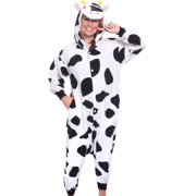 SILVER LILLY Adult Cow One Piece Animal Cosplay Halloween Costume Pajamas