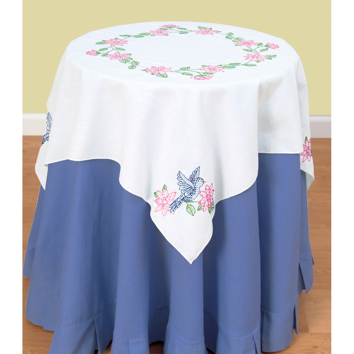 """Stamped White Perle Edge Table Topper 35""""X35"""" Birds 550 31"""