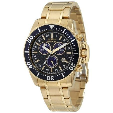 Men's 11288 Pro Diver Chronograph Black Carbon Fiber Dial 18k Gold Io Carbon Fiber Chronograph Watch