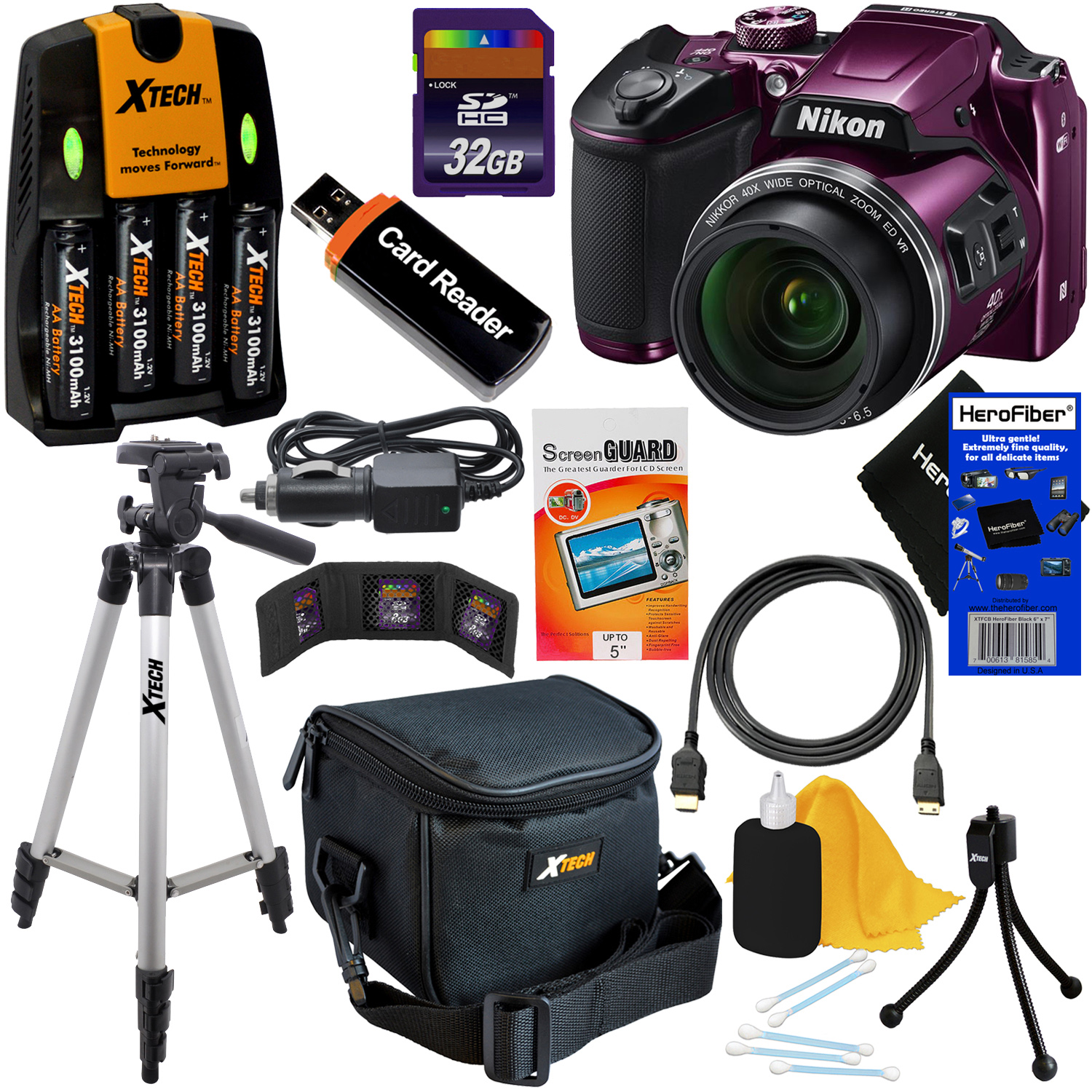 Nikon COOLPIX B500 Wi-Fi, NFC Digital Camera w/40x Zoom & HD Video (Plum) + 4 AA Batteries with Charger + 10pc 32GB Dlx Accessory Kit w/ HeroFiber Cleaning Cloth