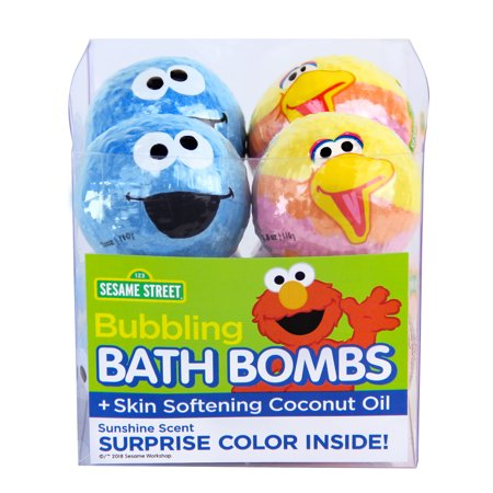 Coconut Scented Bath - (2 pack) Sesame Street Bubbling Bath Bombs with Coconut Oil, Sunshine Scent, 3.8 Oz ea