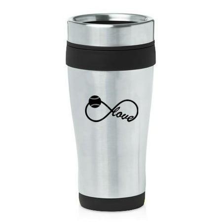 Infinity Insulated Mug (Black 16oz Insulated Stainless Steel Travel Mug Z2026 Infinity Infinite Love for Baseball)