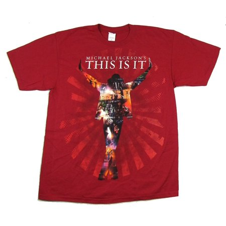 Michael Jackson This Is It Collage Silhouette Red T Shirt
