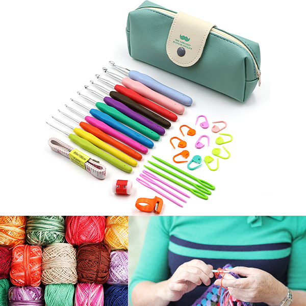 Meigar 11 Sizes Crochet Hooks Set with Case,2mm to 8mm DIY Weave Yarn Kit Set,TPR Soft Rubber Handle and Aluminum Knitting Needle,19 Crochet Accessories (30pcs set)