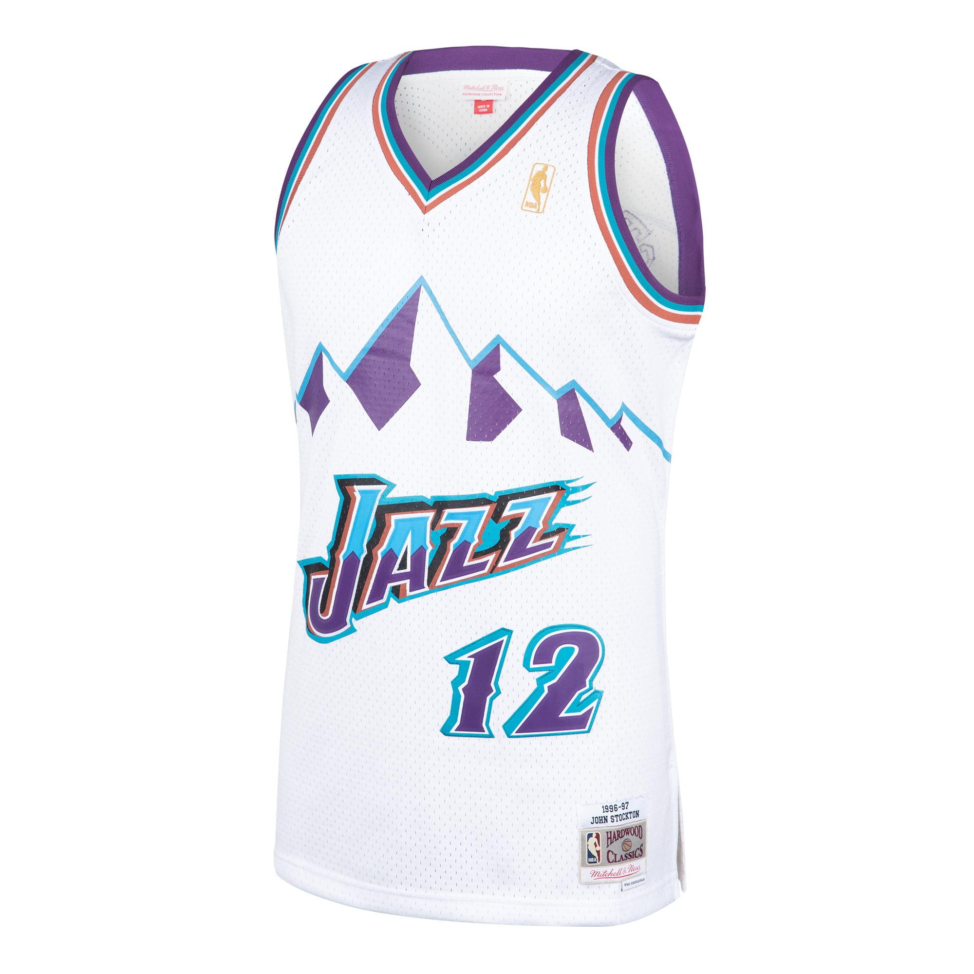 timeless design f5194 e289c John Stockton Utah Jazz Mitchell   Ness 1996-97 Hardwood Classics Swingman  Jersey - White - Walmart.com