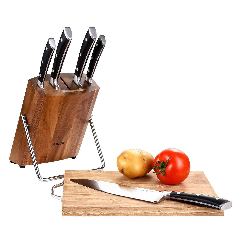 aicok kitchen knife set, stainless steel chef knife block set, 6