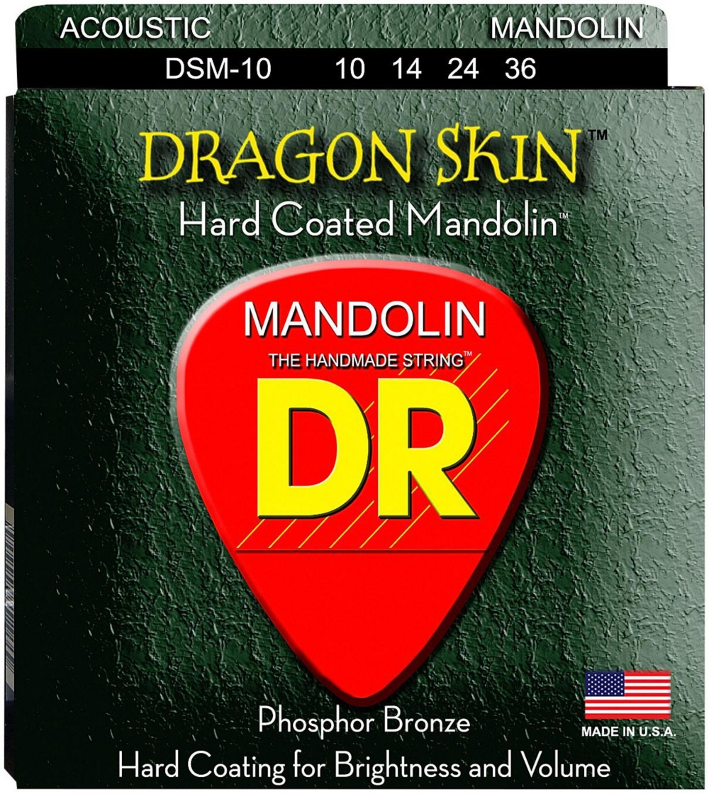 DR Strings Dragon Skin Clear Coated Mandolin Strings (10-14-24-36) by DR Strings