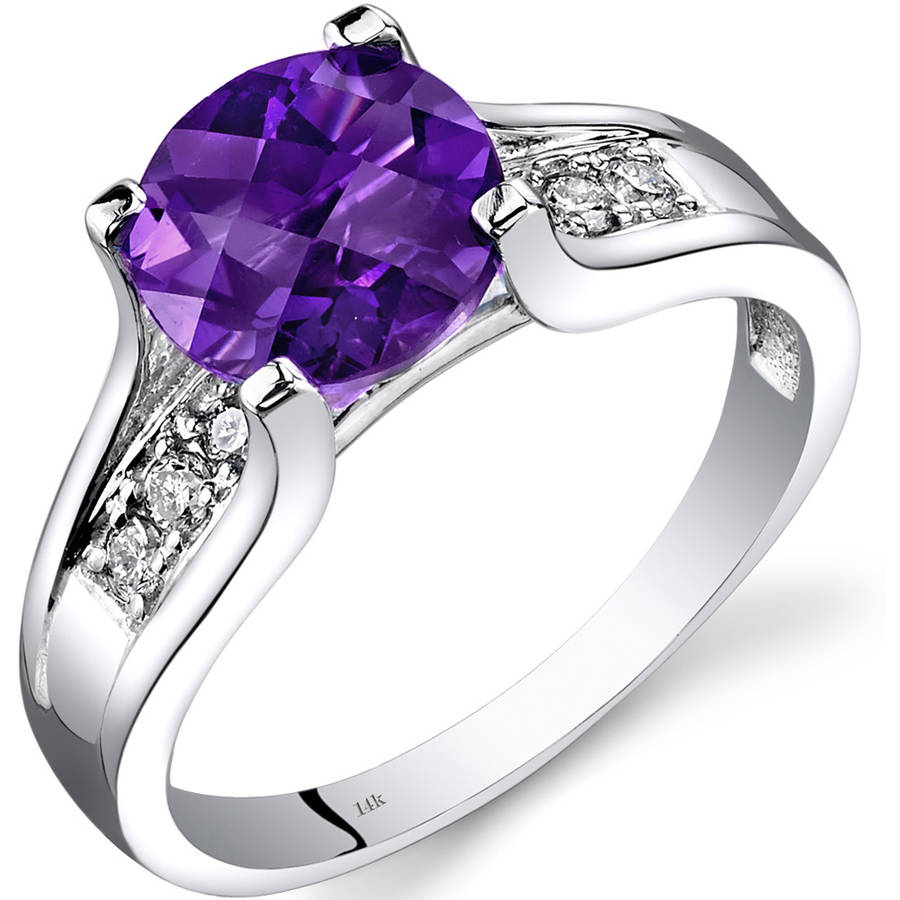Oravo 1.75 Carat T.G.W. Amethyst and Diamond Accent 14kt White Gold Ring by Oravo