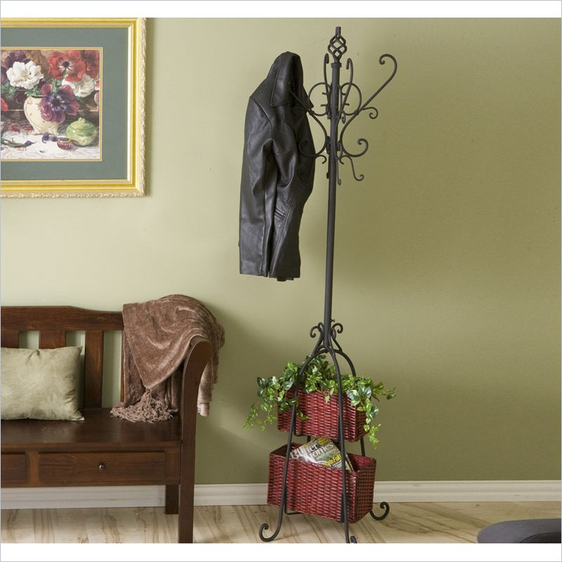 Holly & Martin Graham Coat Rack with Rattan Storage in Black